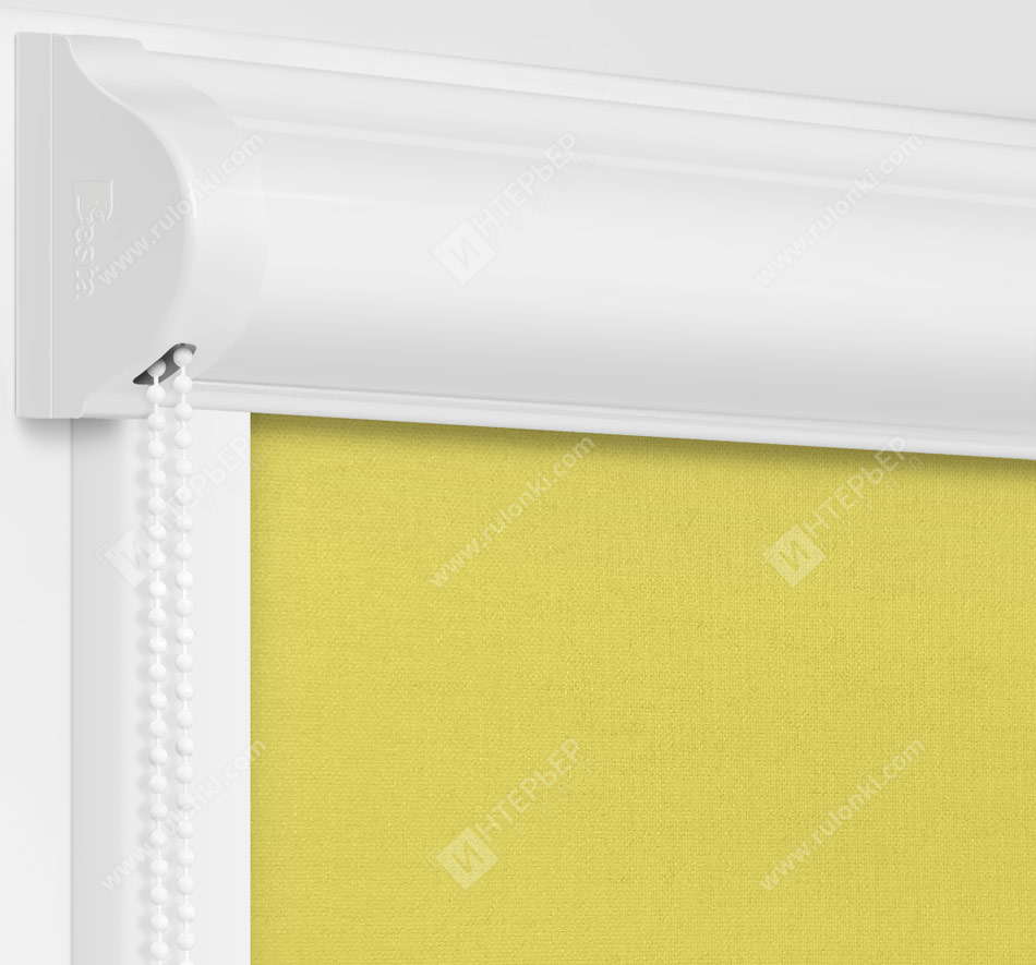 Рулонные кассетные шторы УНИ - Карина лимонный