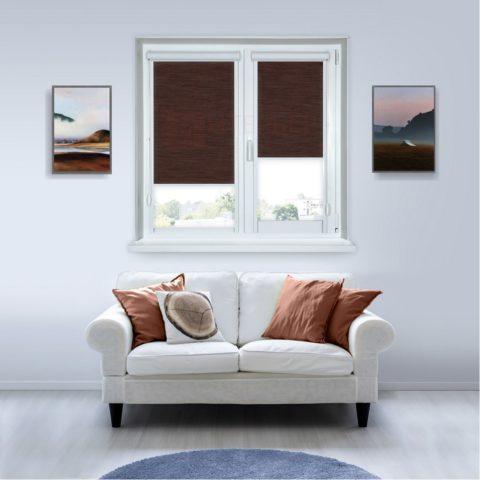 Рулонные кассетные шторы УНИ - Корсо темно-коричневый