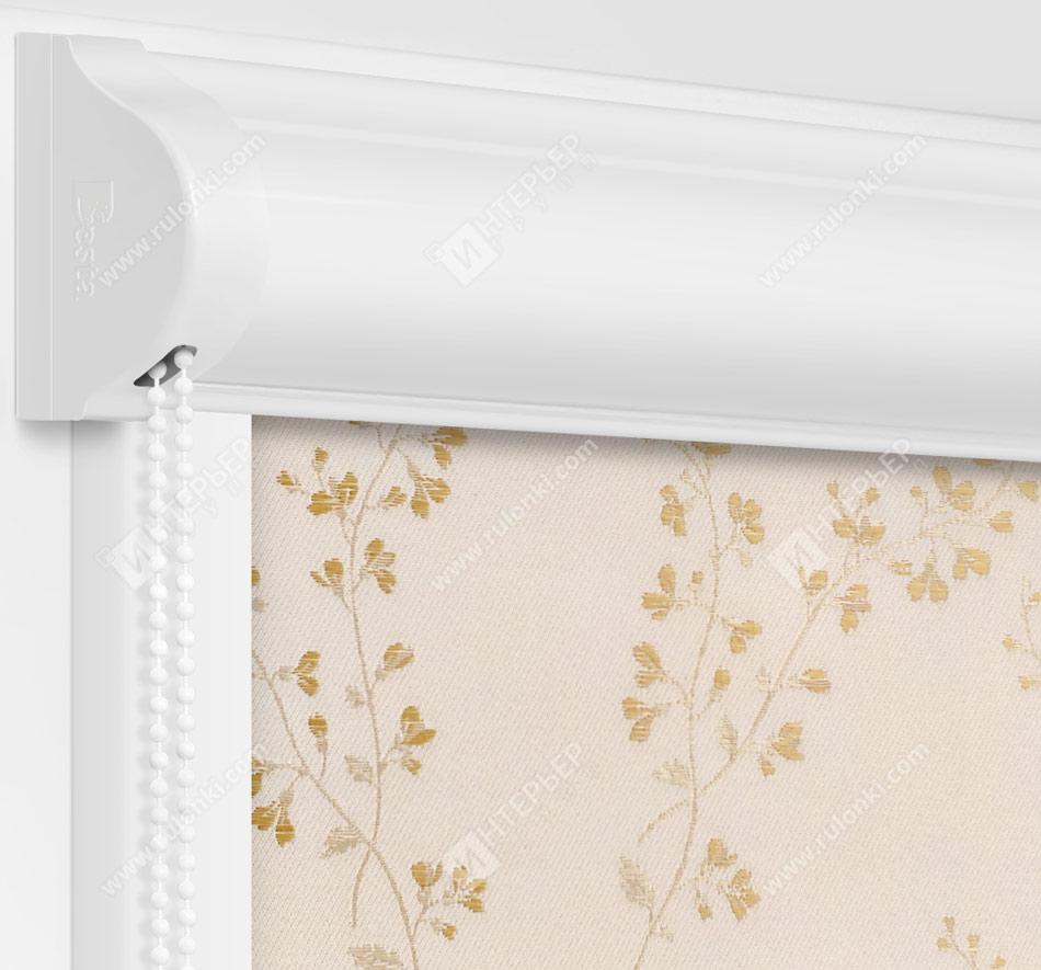 Рулонные кассетные шторы УНИ - Амальфи кремово-золотой на пластиковые окна