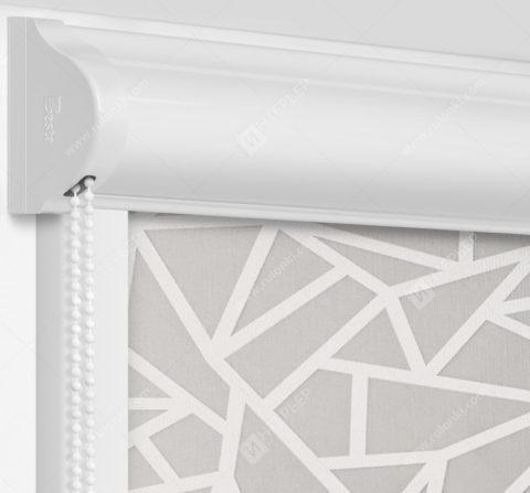 Рулонные кассетные шторы УНИ - Кастелло серо-бежевый на пластиковые окна