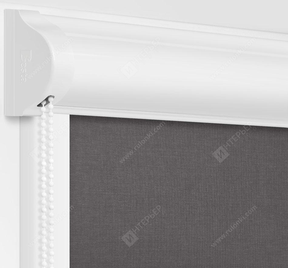 Рулонные кассетные шторы УНИ - Монако стальной на пластиковые окна