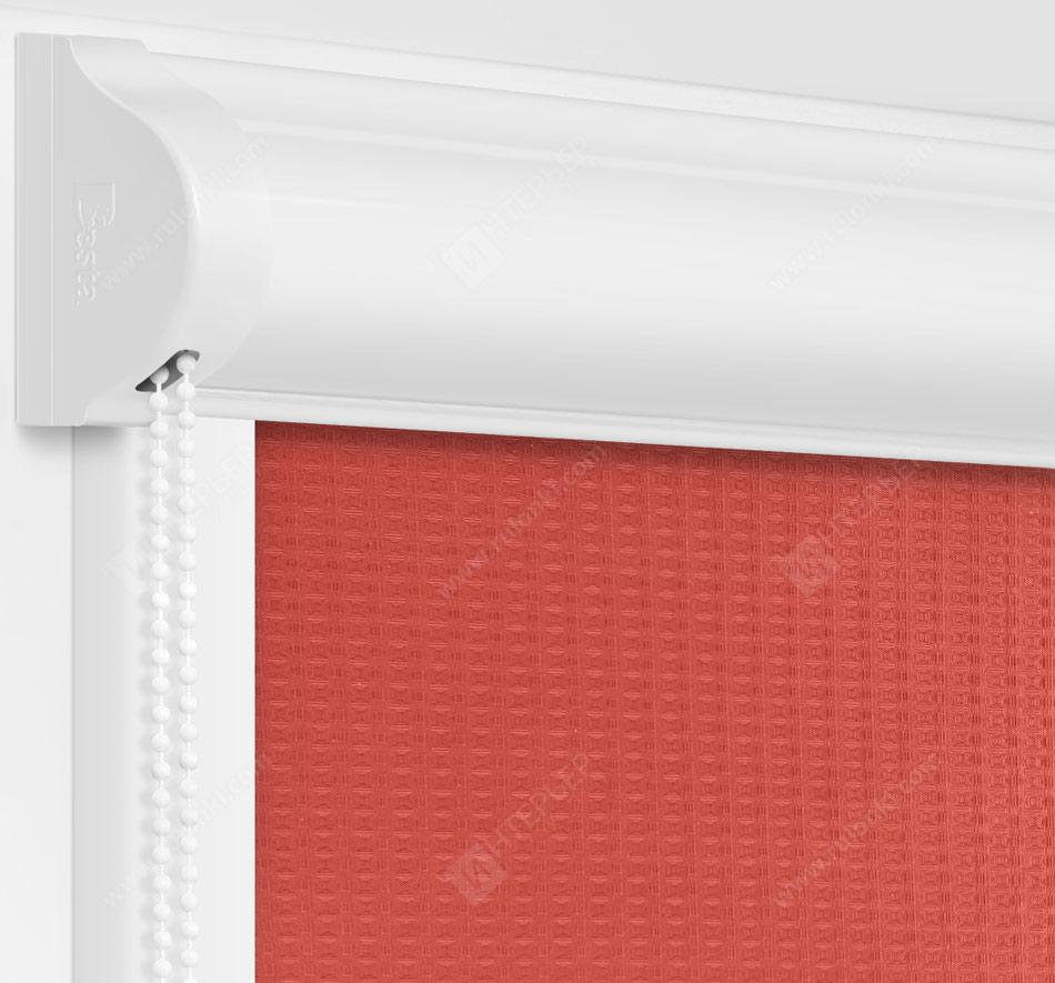Рулонные кассетные шторы УНИ - Севилья коралловый на пластиковые окна