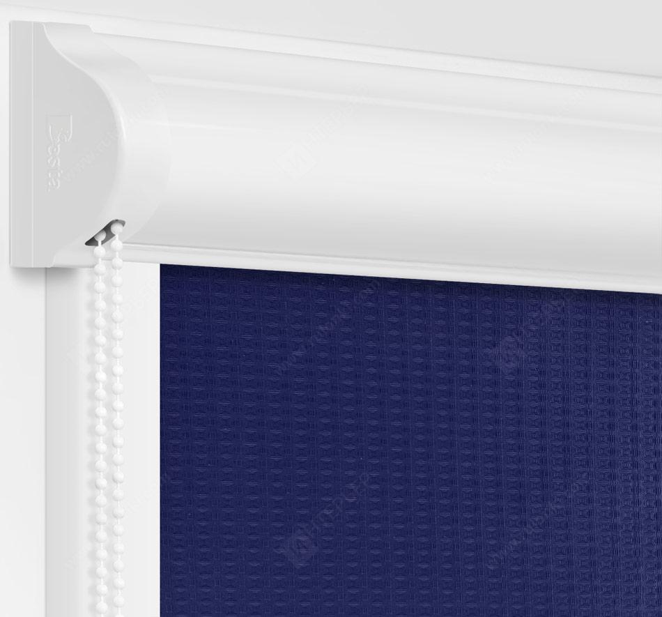Рулонные кассетные шторы УНИ - Севилья синий на пластиковые окна