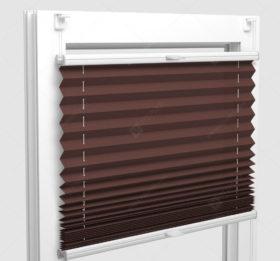 Шторы Плиссе - Аскона коричневый на пластиковые окна